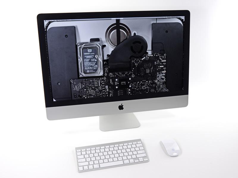 iMac com wallpaper de componentes da iFixit
