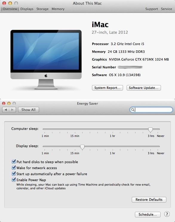 iMac com recurso Power Nap