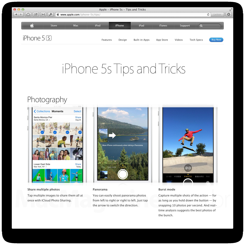 Página com dicas e truques do iPhone 5s