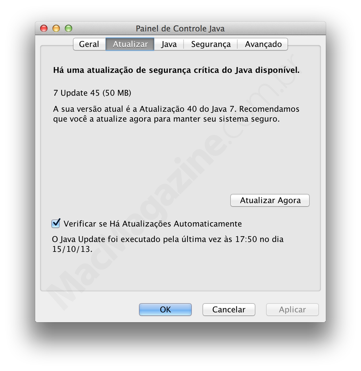 Atualização 45 do Java
