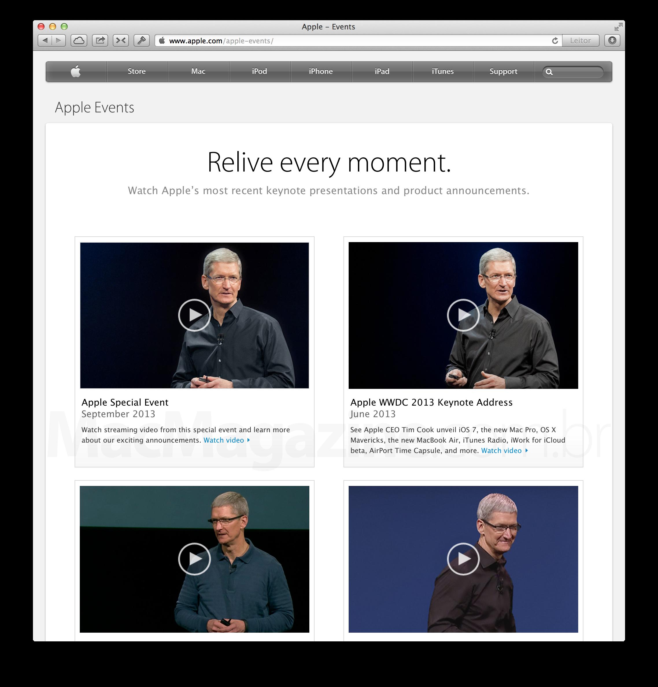 Página de eventos da Apple