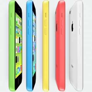 iPhones 5c em pé