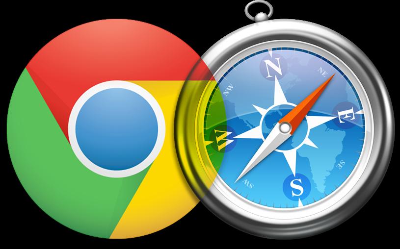 Ícones do Google Chrome e do Apple Safari