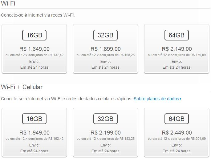 Novos preços dos iPads retina