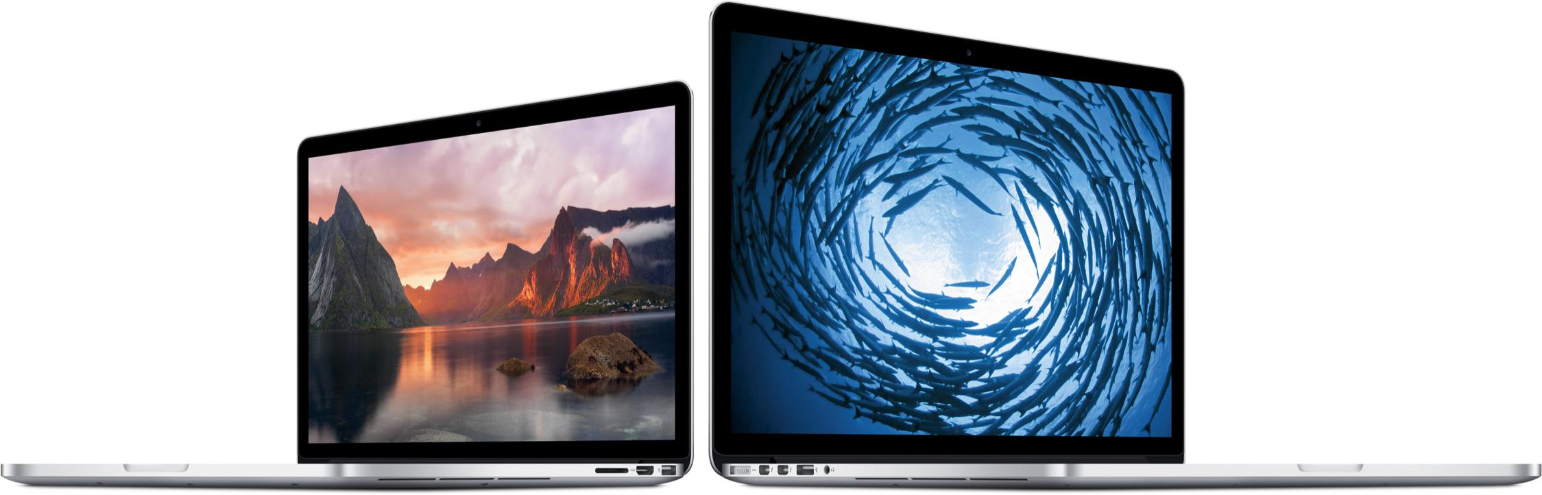 Novos MacBooks Pro com tela Retina lado a lado
