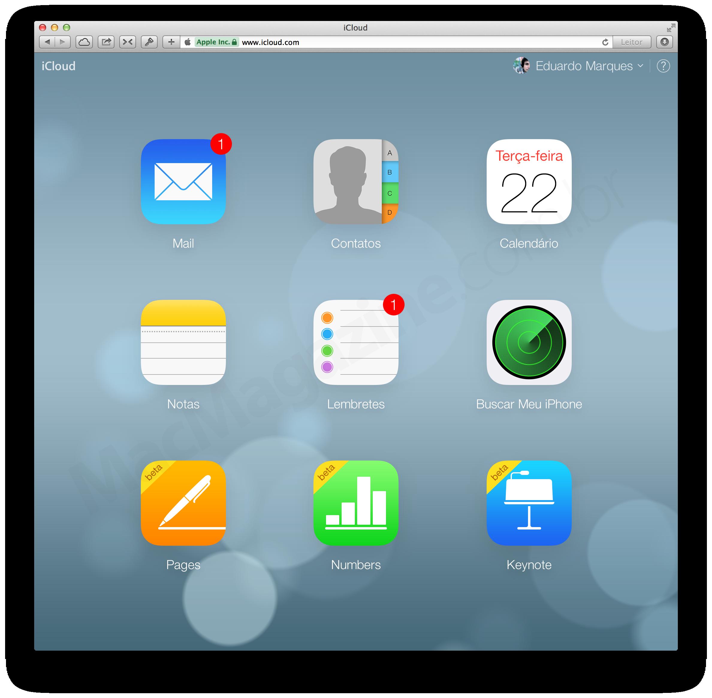 Novos ícones da suite iWork para iCloud