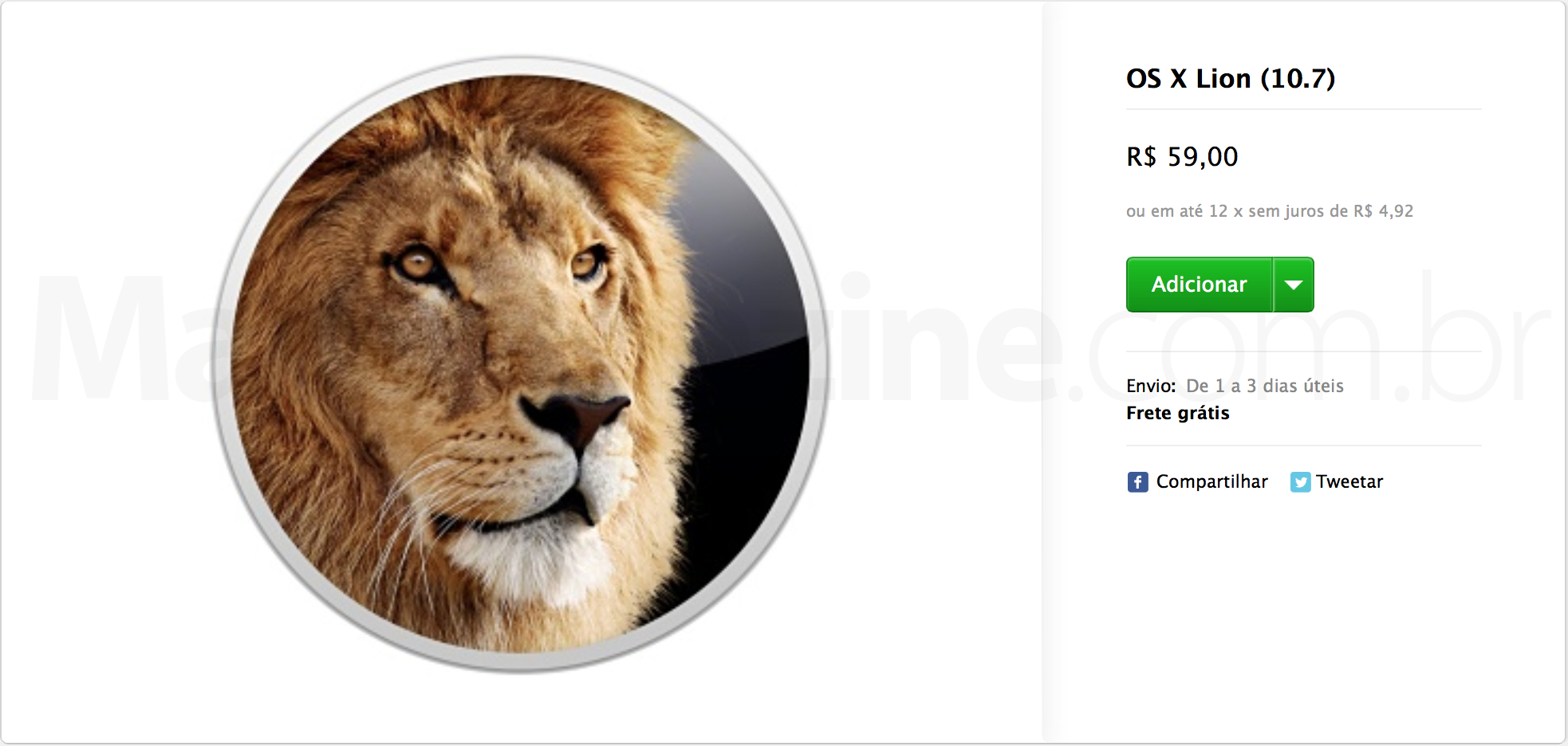 OS X Lion à venda na Apple Online Store