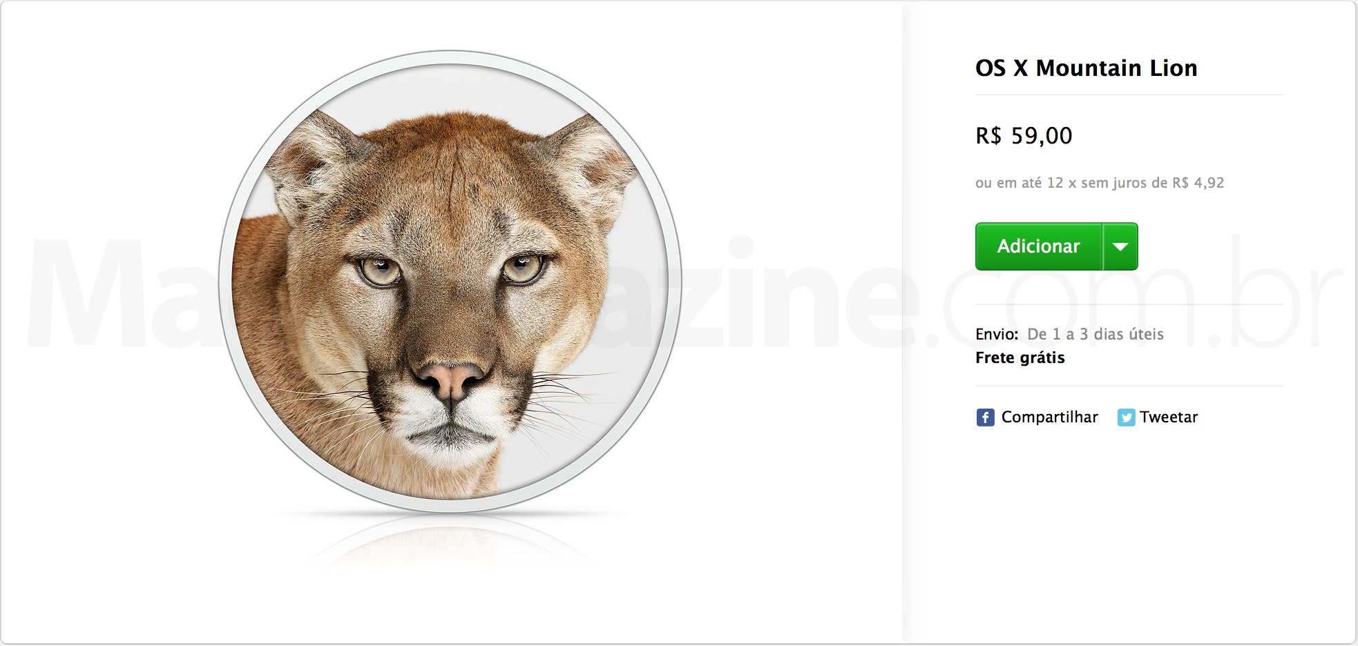 OS X Mountain Lion à venda na Apple Online Store