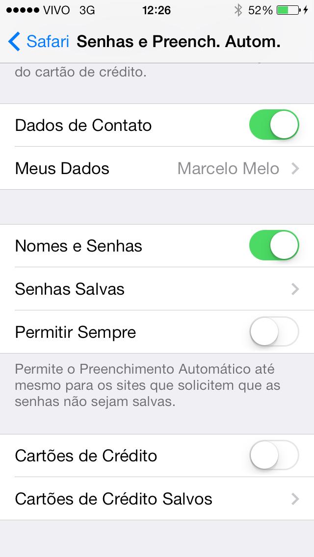 Senhas iCloud
