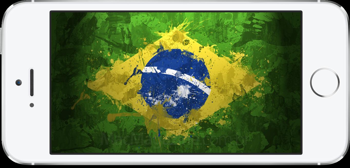 iPhone 5s com a bandeira do Brasil