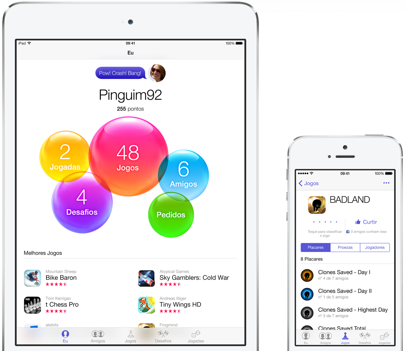 Game Center em iPad mini e iPhone 5s