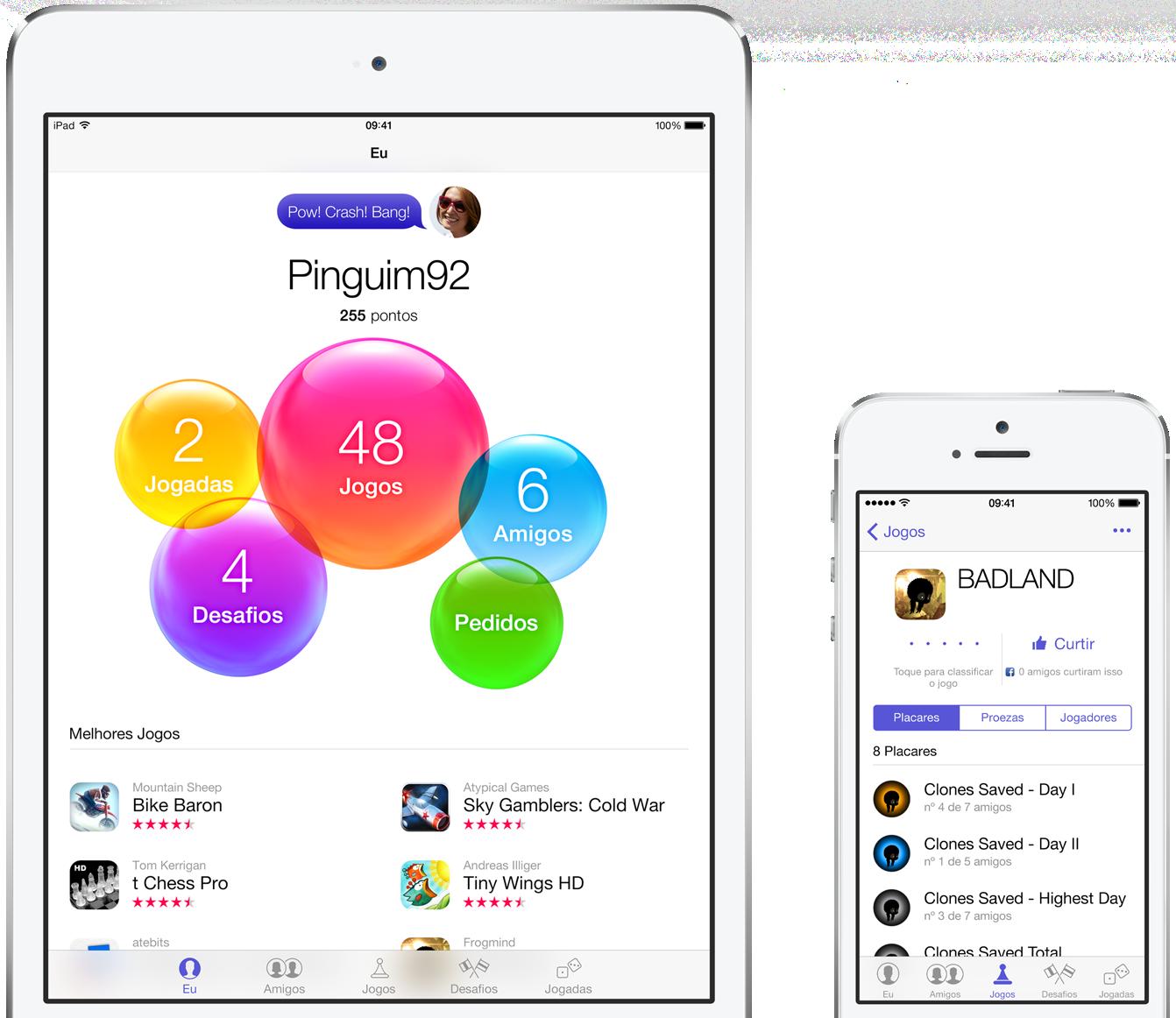 Game Center em iPad mini e iPhone 5s