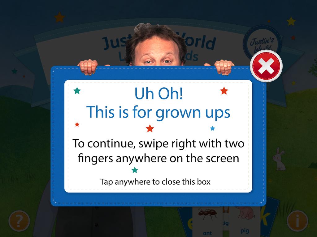 Tela de verificação de idade do app Justin's World