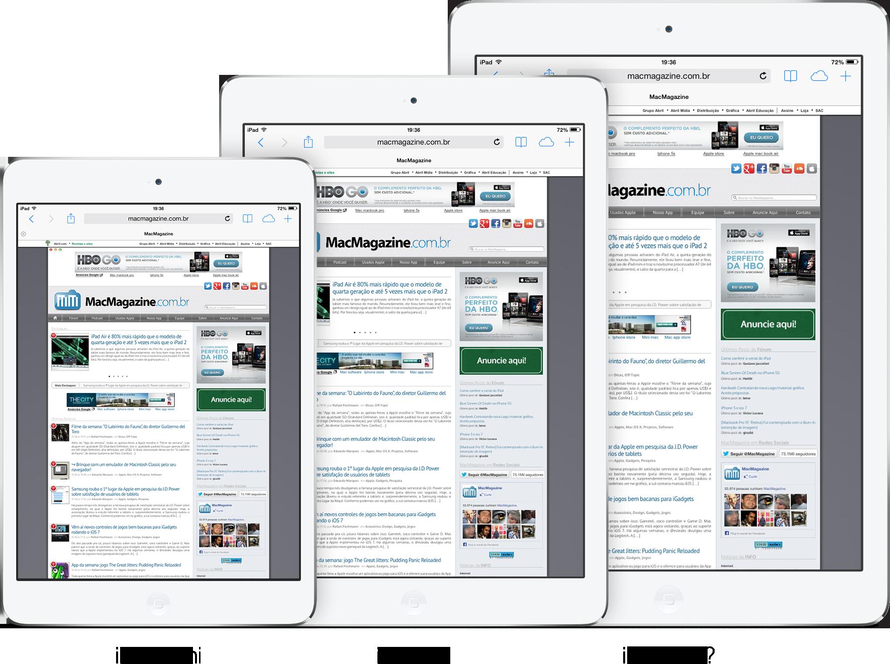 Mockup de linha de iPads com modelo Pro