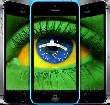 iPhones 5s e 5c com a bandeira do Brasil (by MacMagazine)