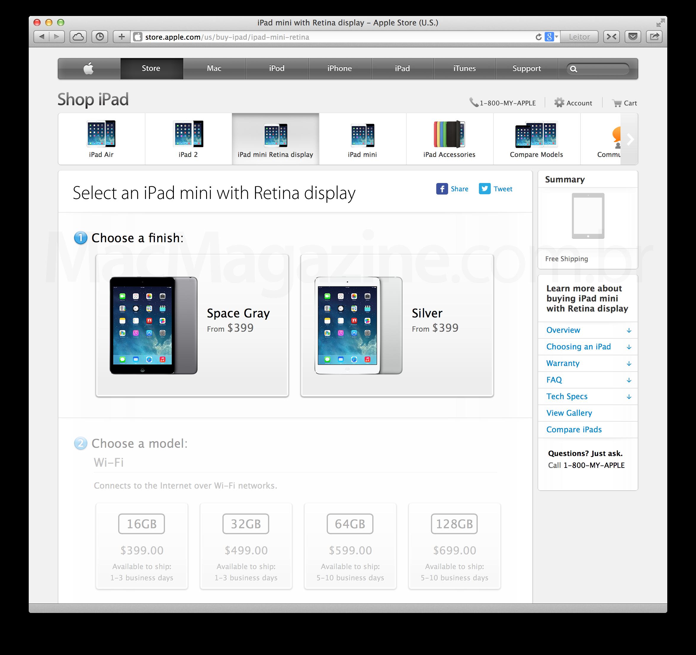 iPads mini na Apple Online Store americana