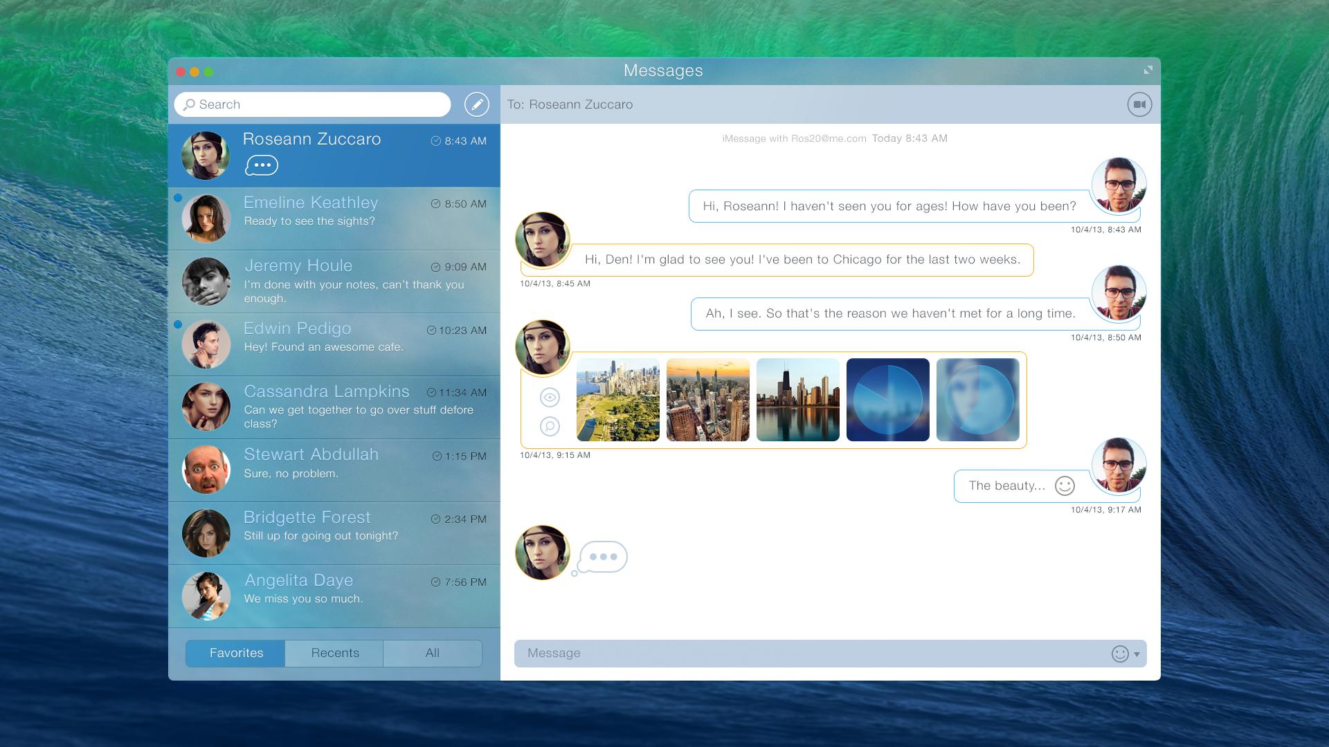 Conceito do Mensagens para Mac