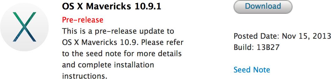 OS X Mavericks 10.9.1