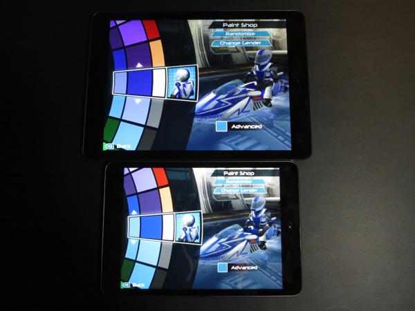 Gama de cores - iPad Air vs. iPad mini com tela Retina