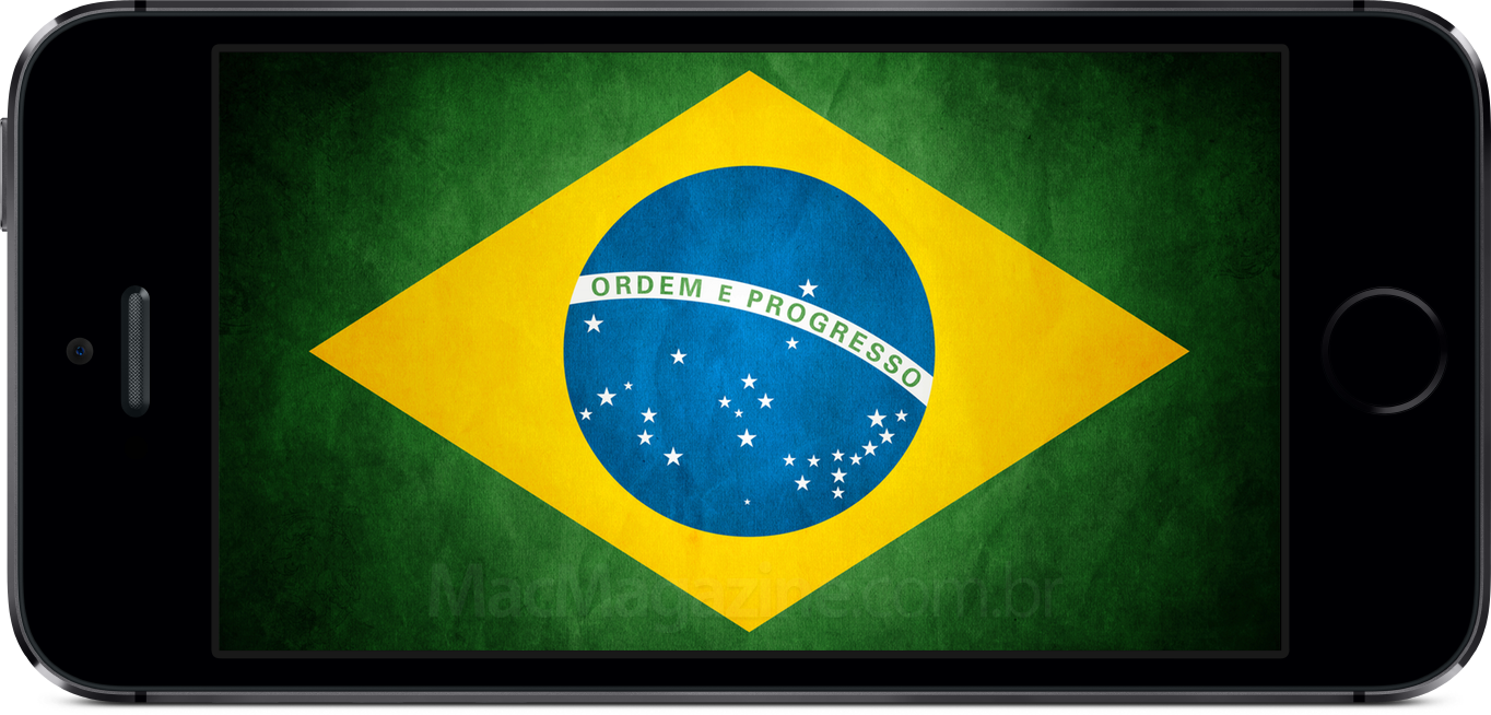 iPhone 5s com bandeira do Brasil