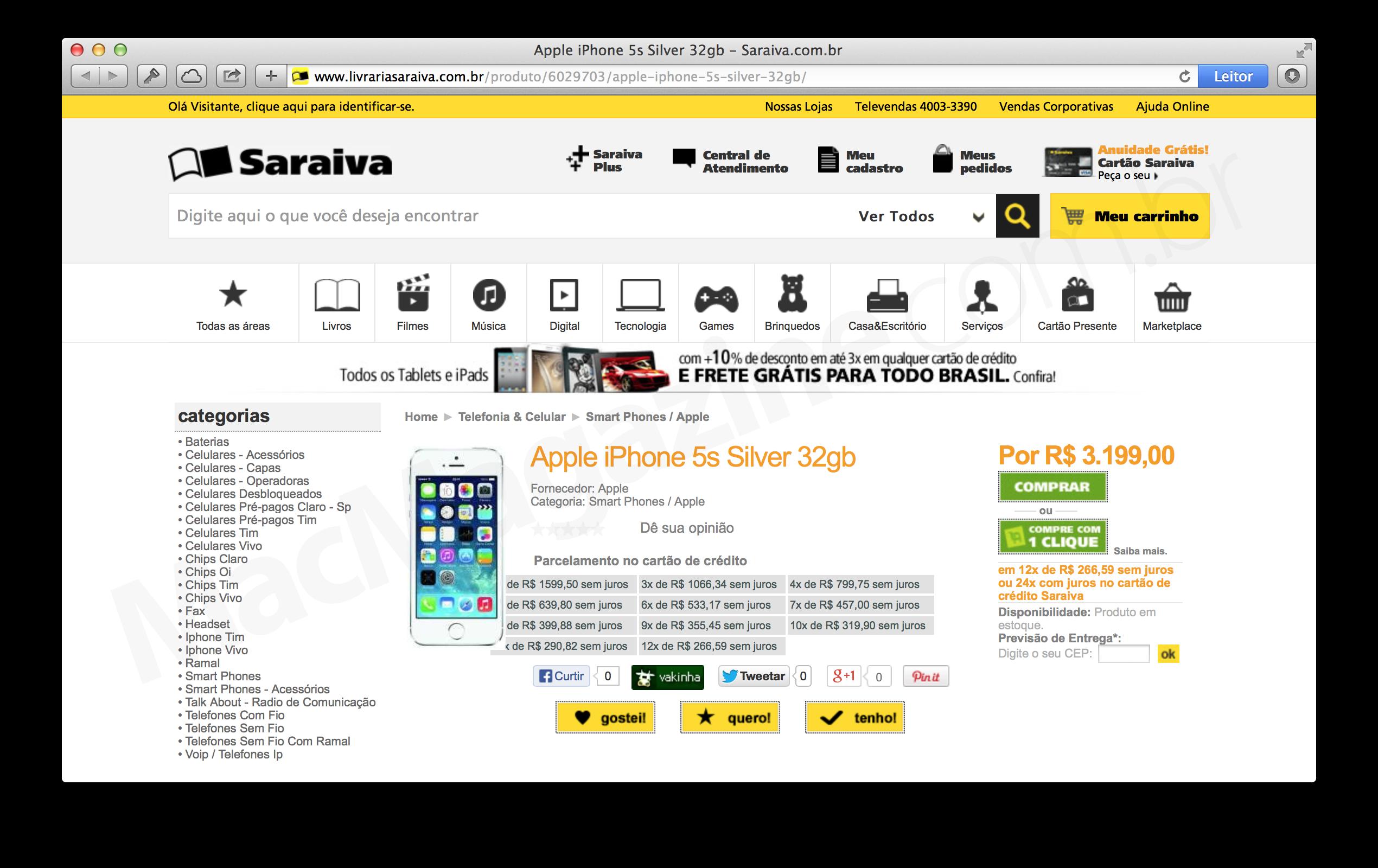 Preço do iPhone 5s de 32GB na Saraiva