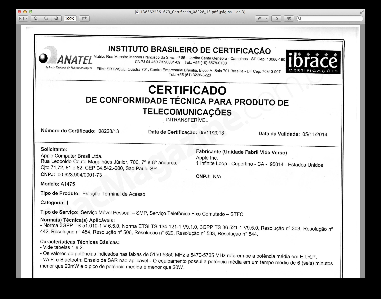Certificado de homologação - iPad Air