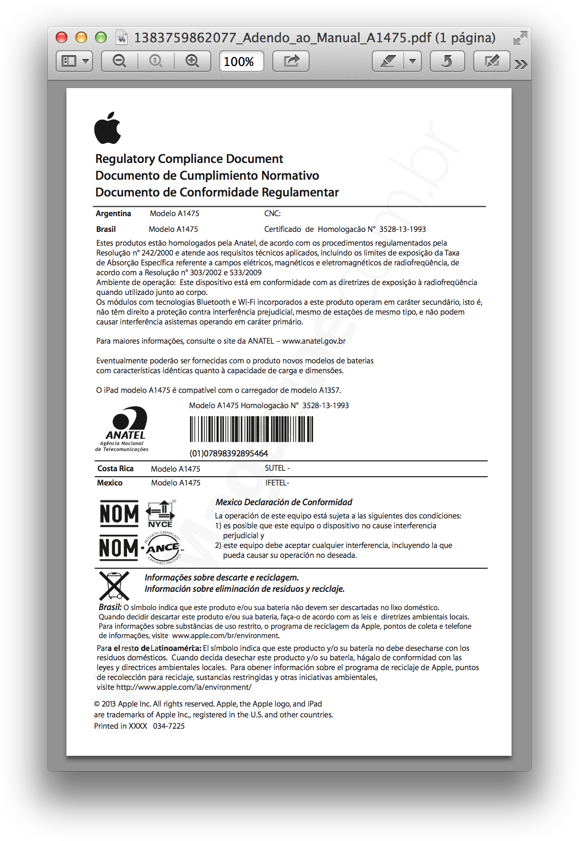 Conformidade regulamentar - iPad Air