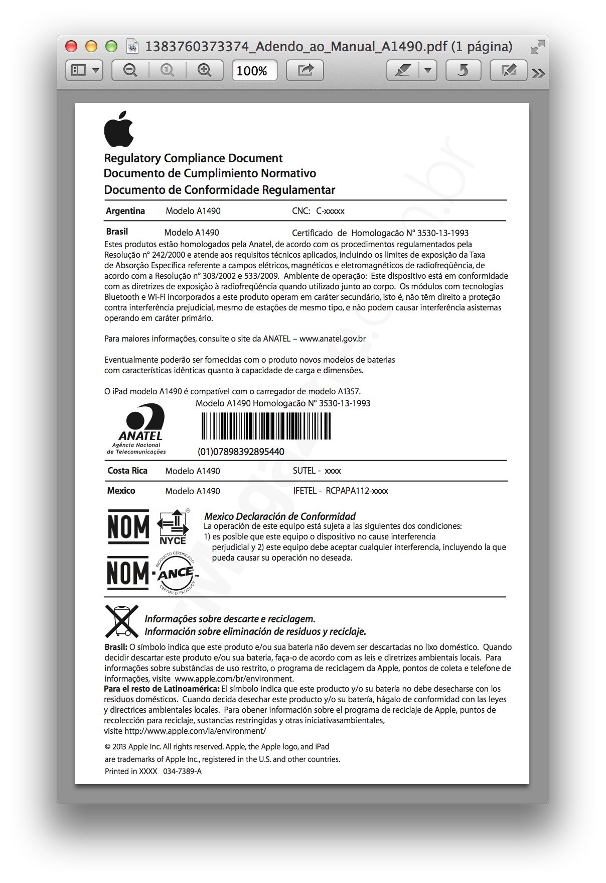 Conformidade regulamentar - iPad mini com tela Retina