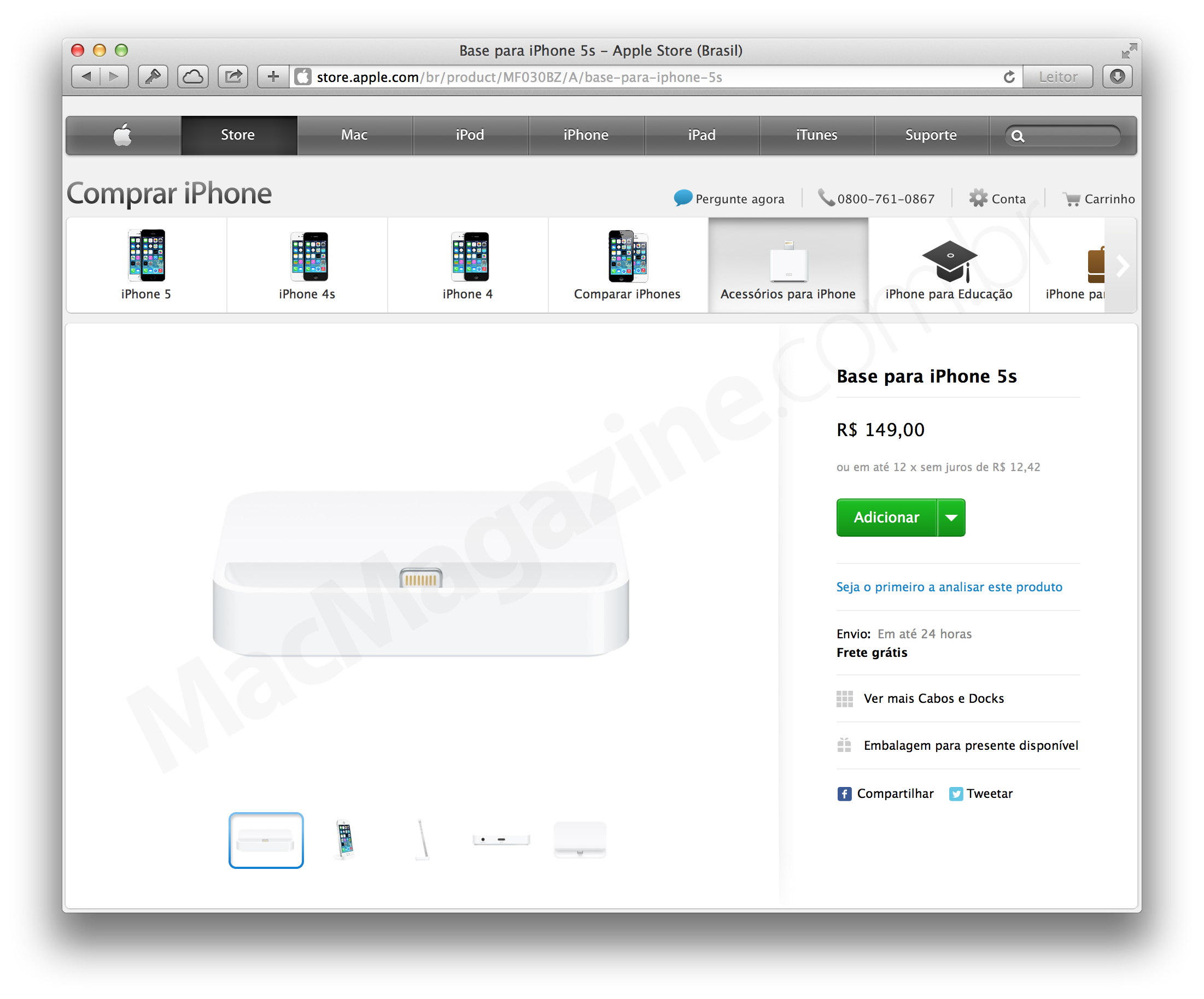 Dock para iPhones 5s na Apple Online Store