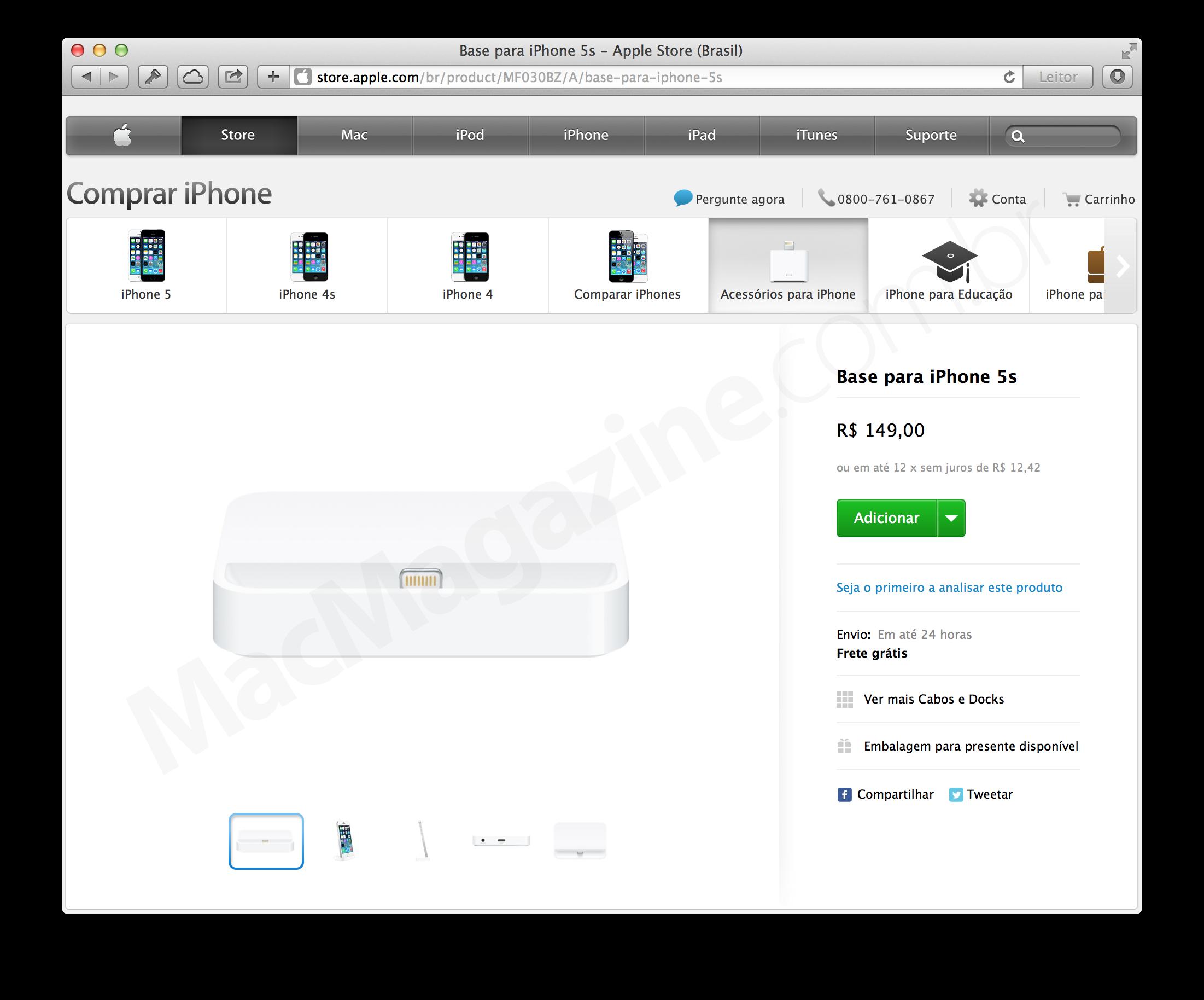 Dock para iPhones 5s na Apple Online Store