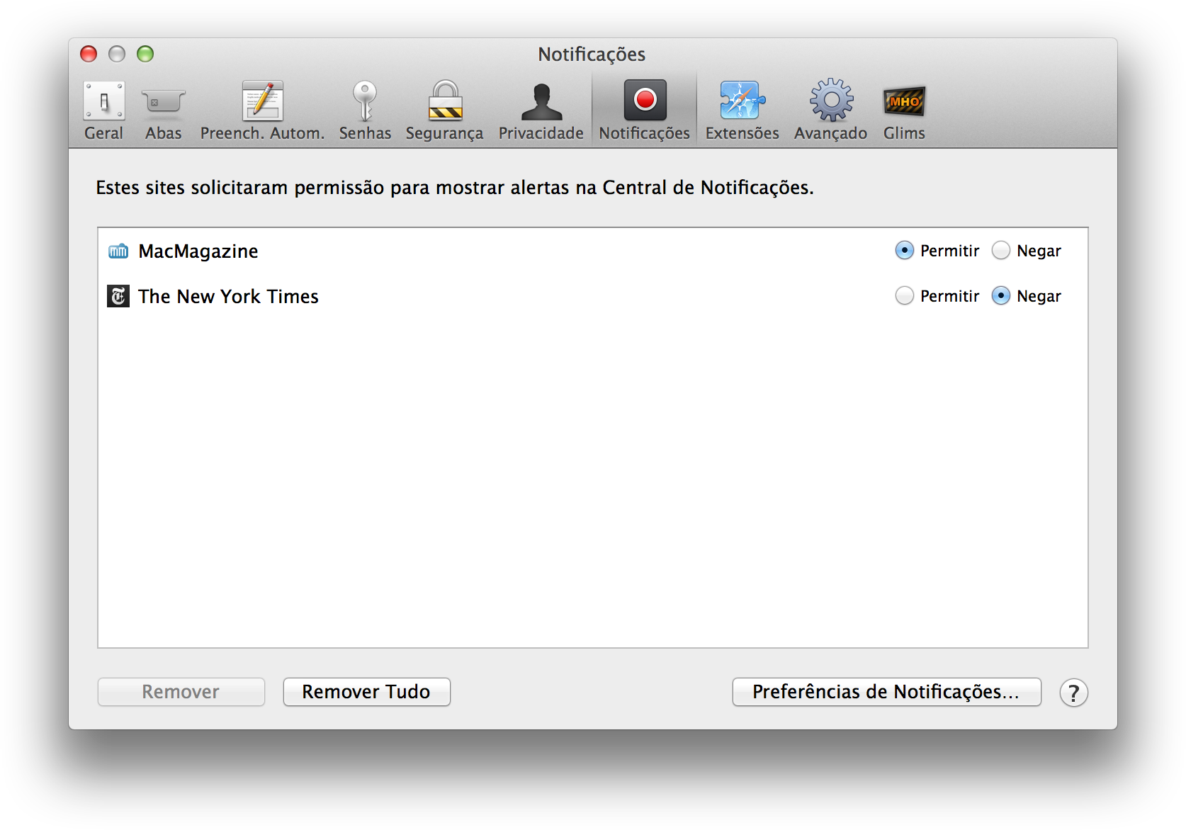Push do MacMagazine no Mavericks