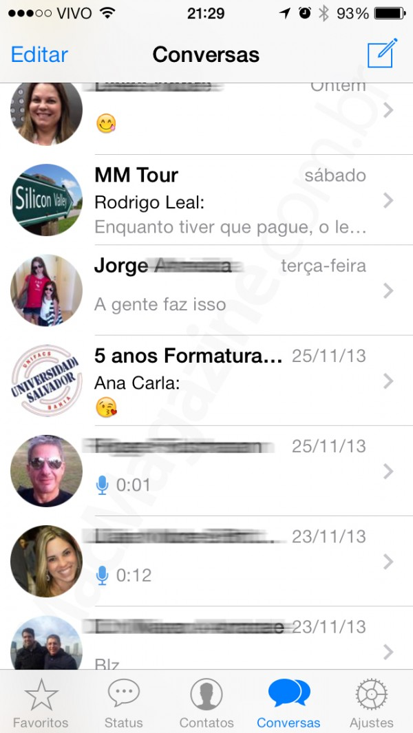 WhatsApp para o iOS 7