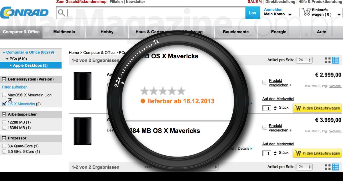 Mac Pro em pré-venda numa revendedora alemã