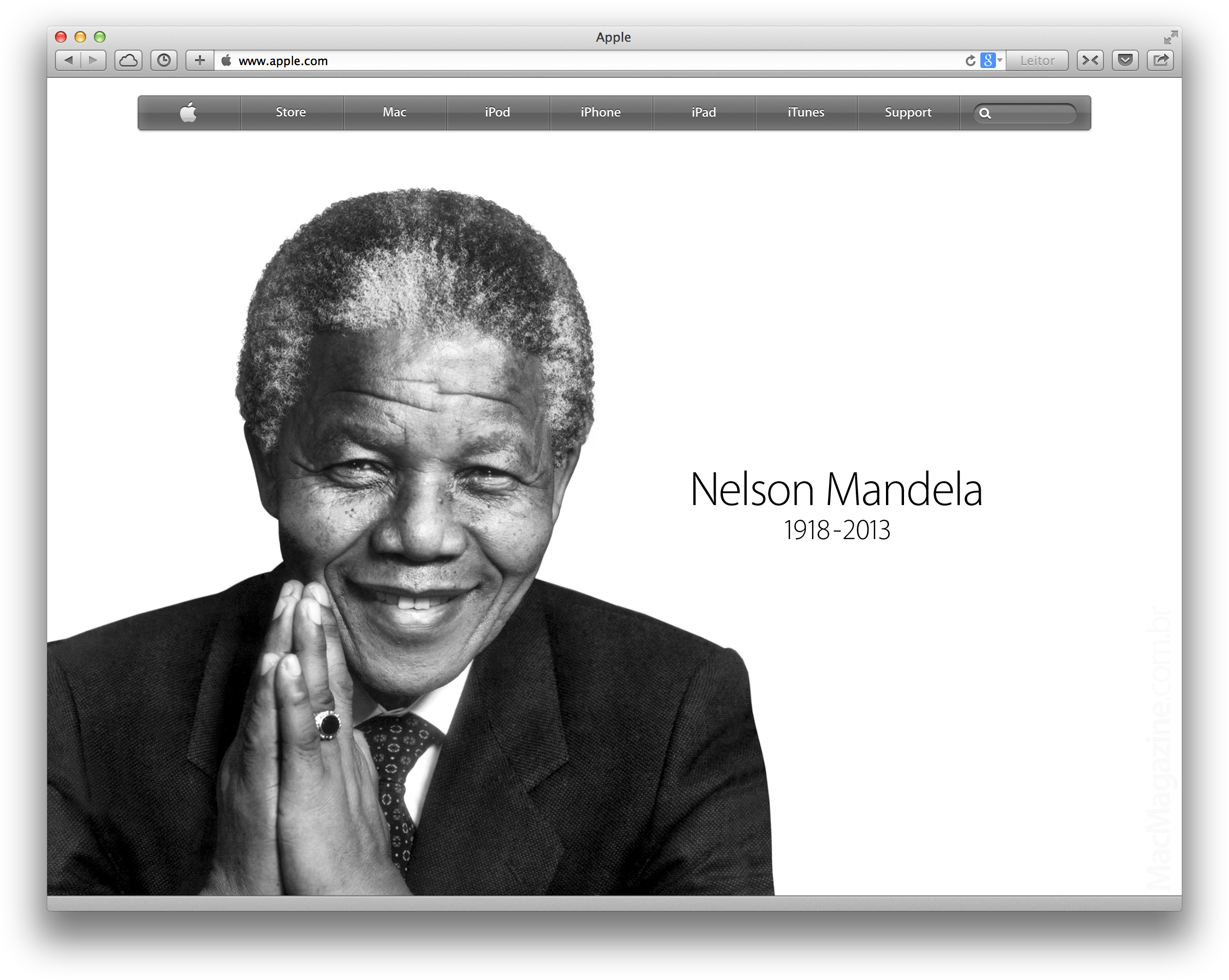Nelson Mandela no Apple.com