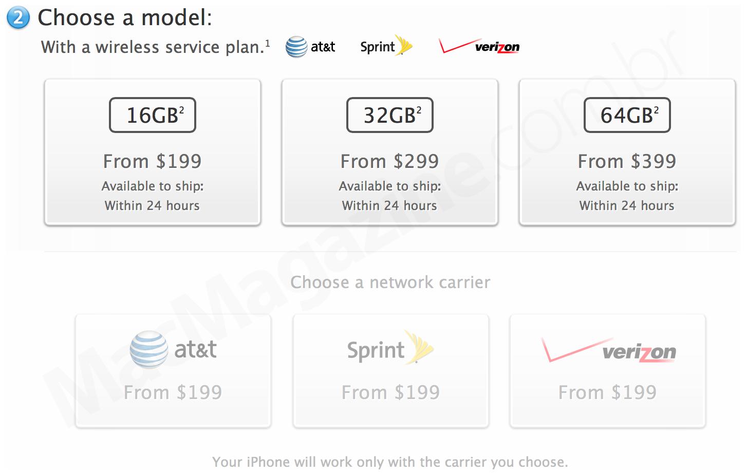iPhone 5s na Apple Online Store americana