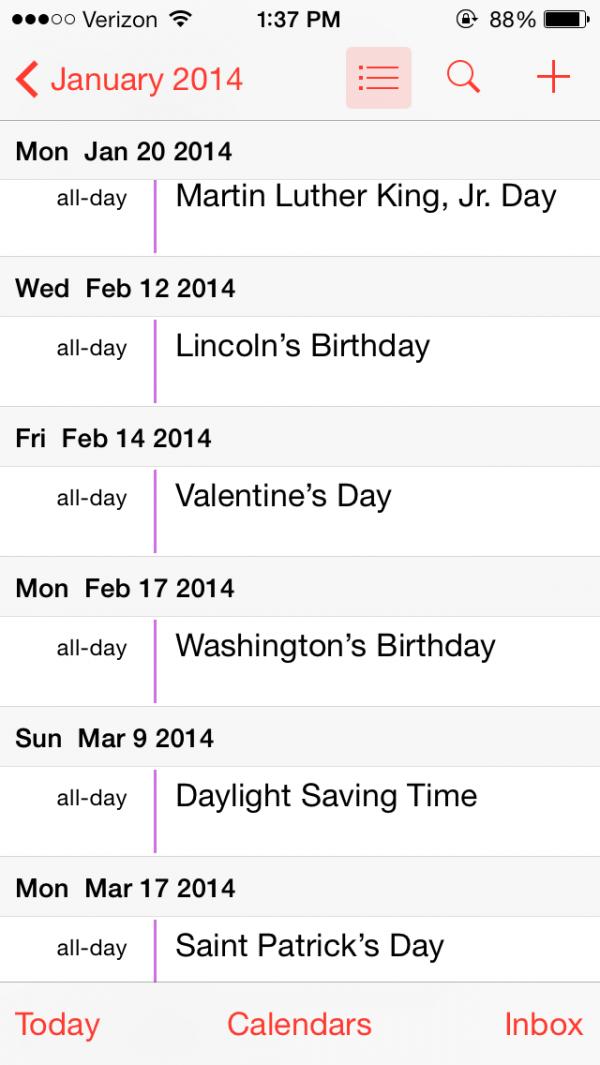 Calendário no iOS 7.1 beta 2