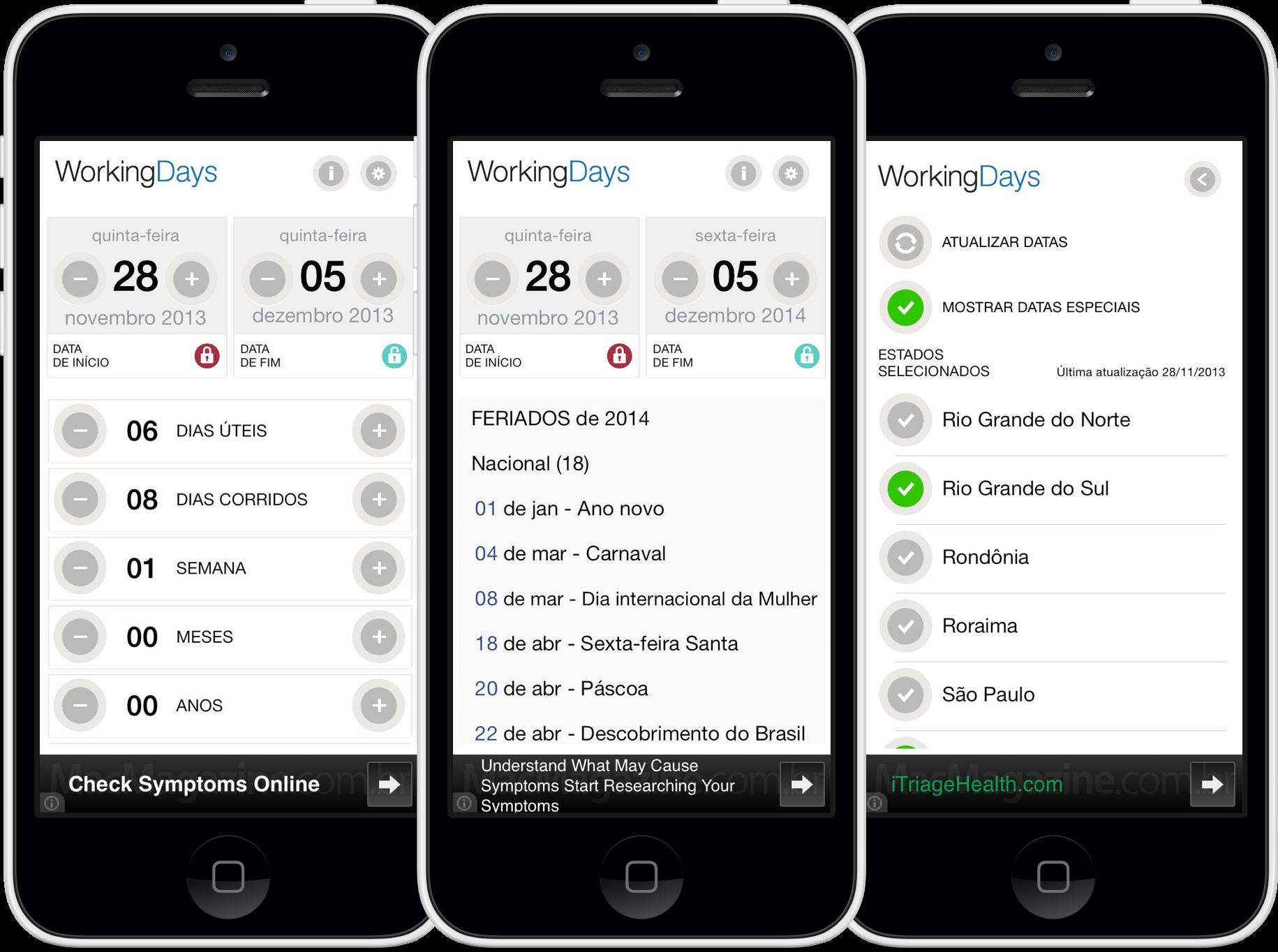 App WorkingDays para iPhones/iPods touch