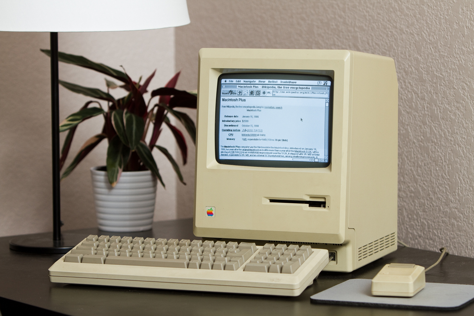 Mac Plus conectado à internet