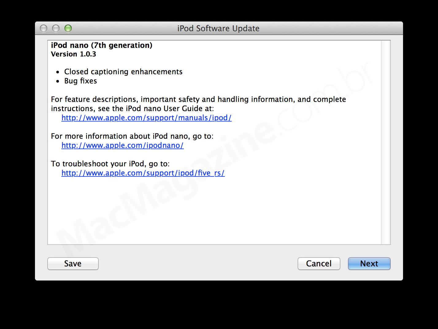 Update (1.0.3) para o iPod nano
