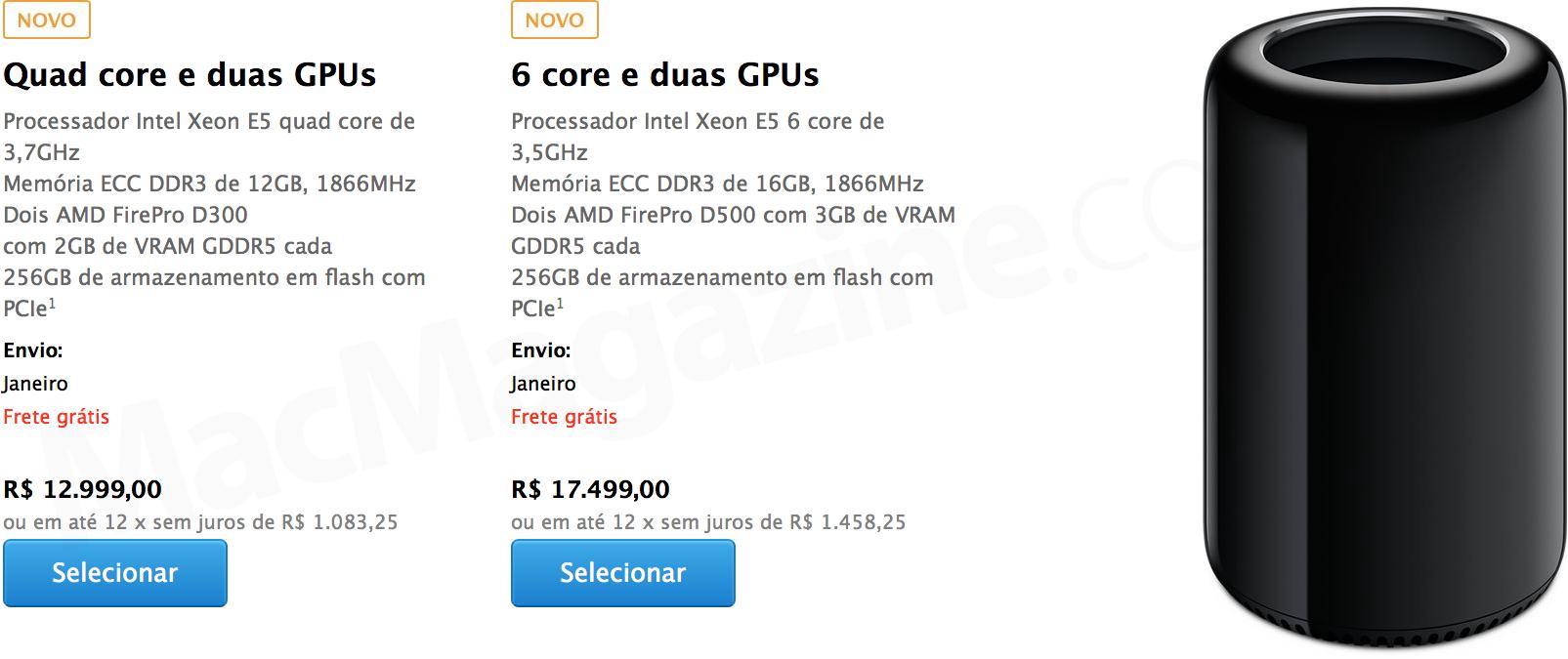 Novo Mac Pro na Apple Online Store
