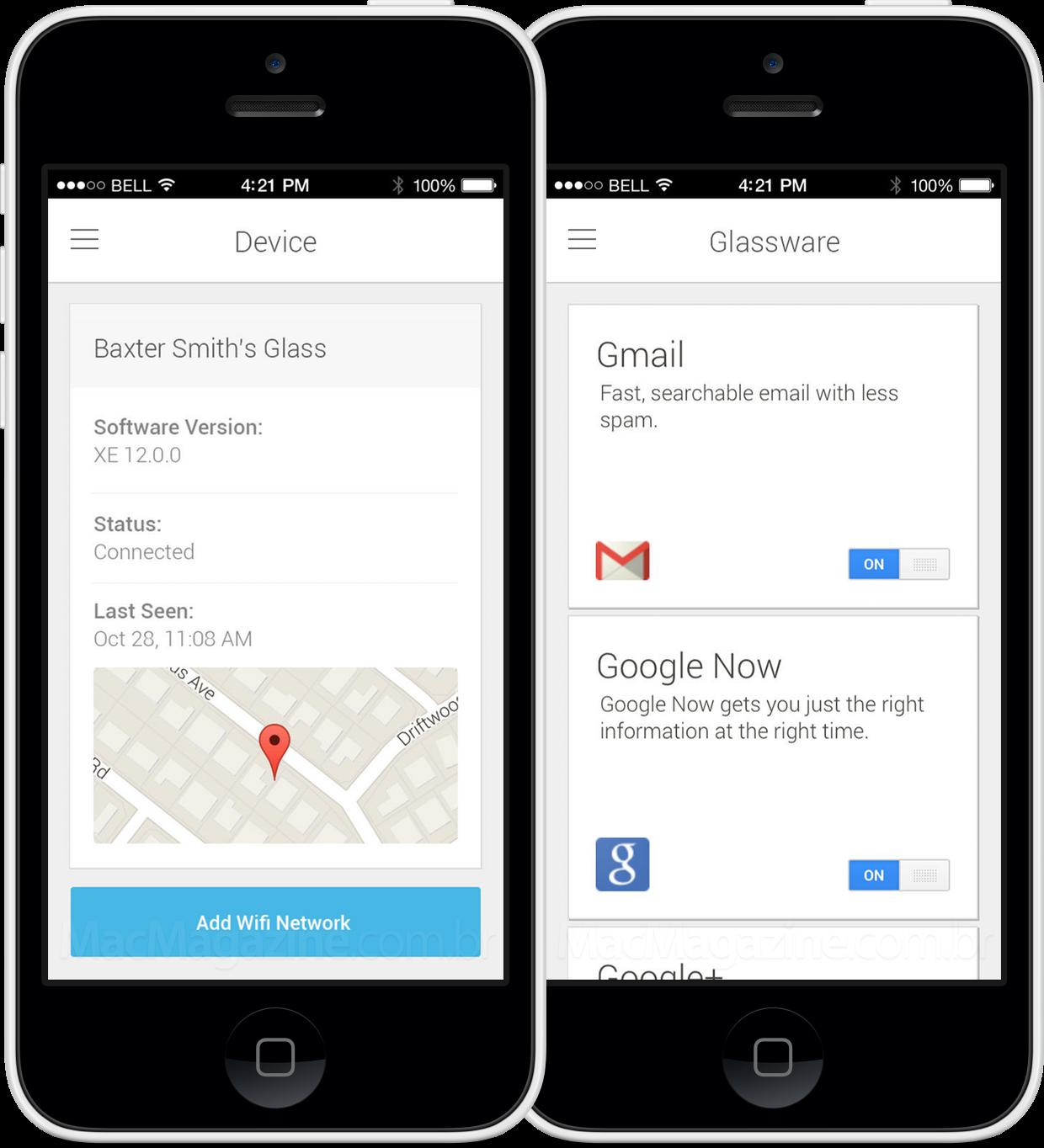 App MyGlass para iOS