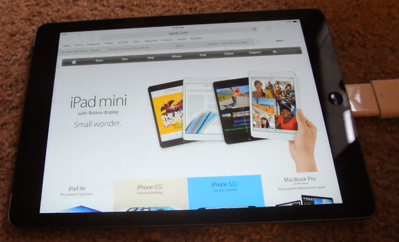 iPad conectado à internet via cabo Ethernet