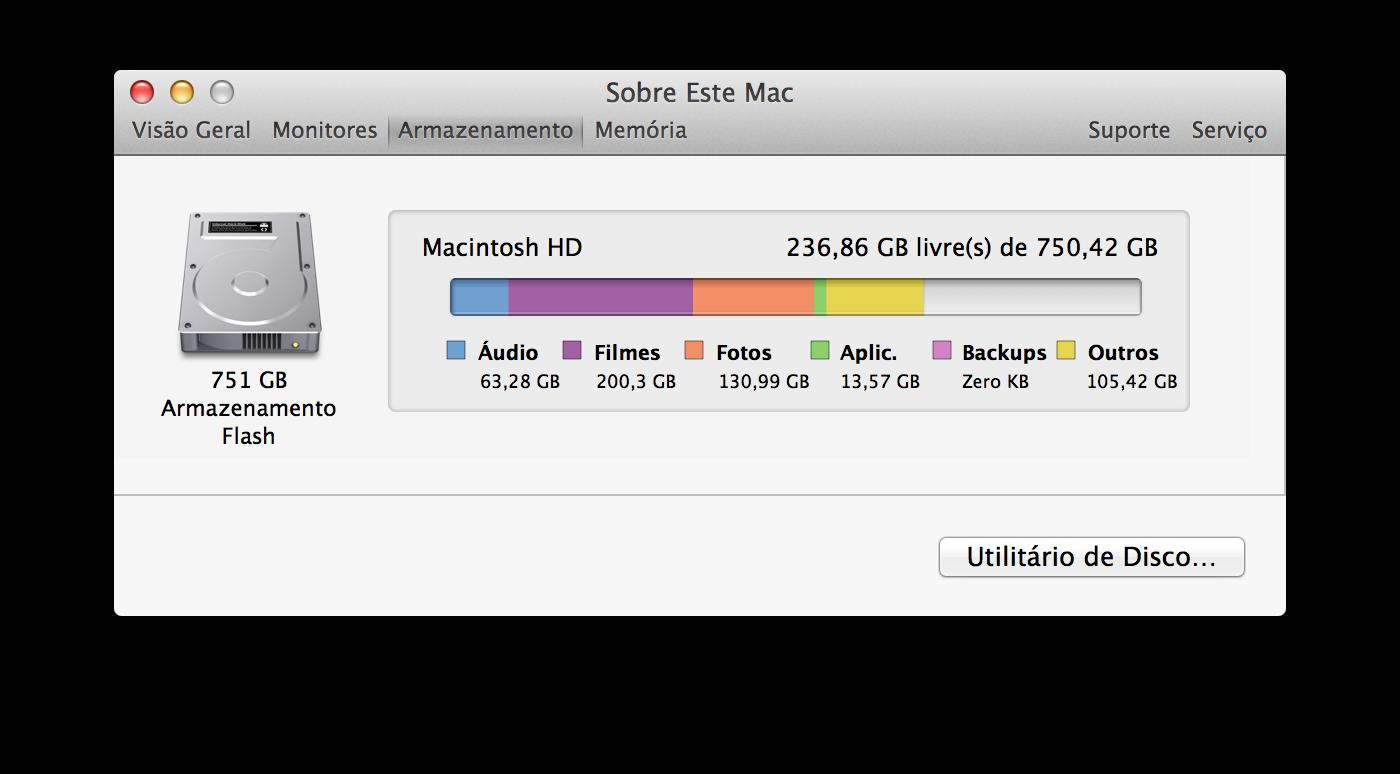 Armazenamento de Macs