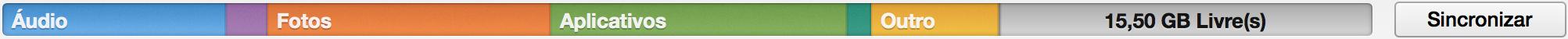 Barra de armazenamento de iGadgets no iTunes