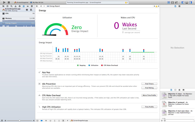 Ferramentas de Energia do Xcode 5