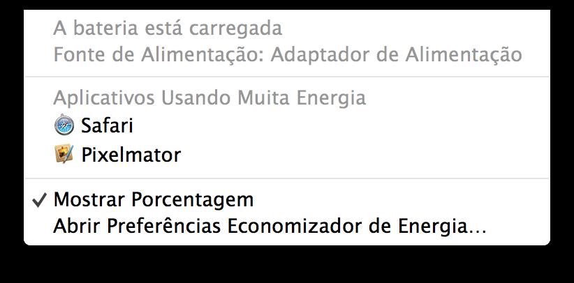 Menu de bateria do OS X Mavericks