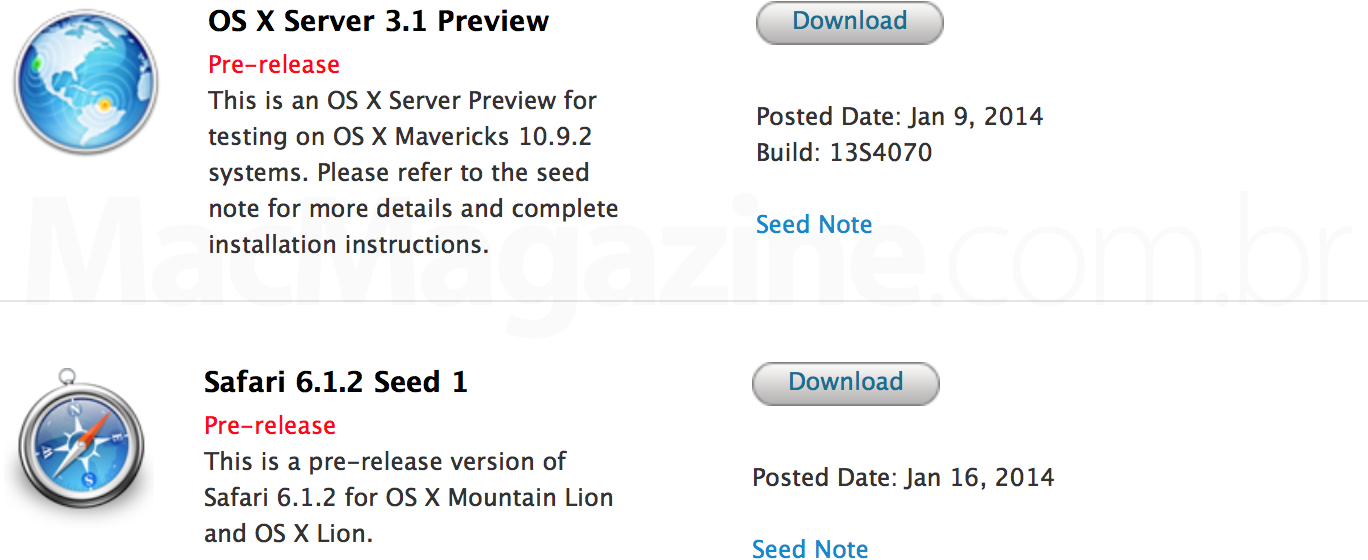 OS X Server 3.1 Preview e Safari 6.1.2 Seed 1