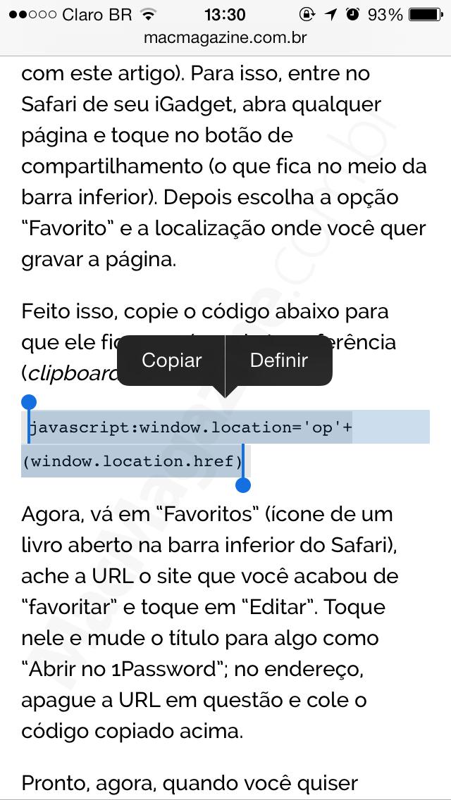 Criando um bookmarklet para o 1Password (iOS)