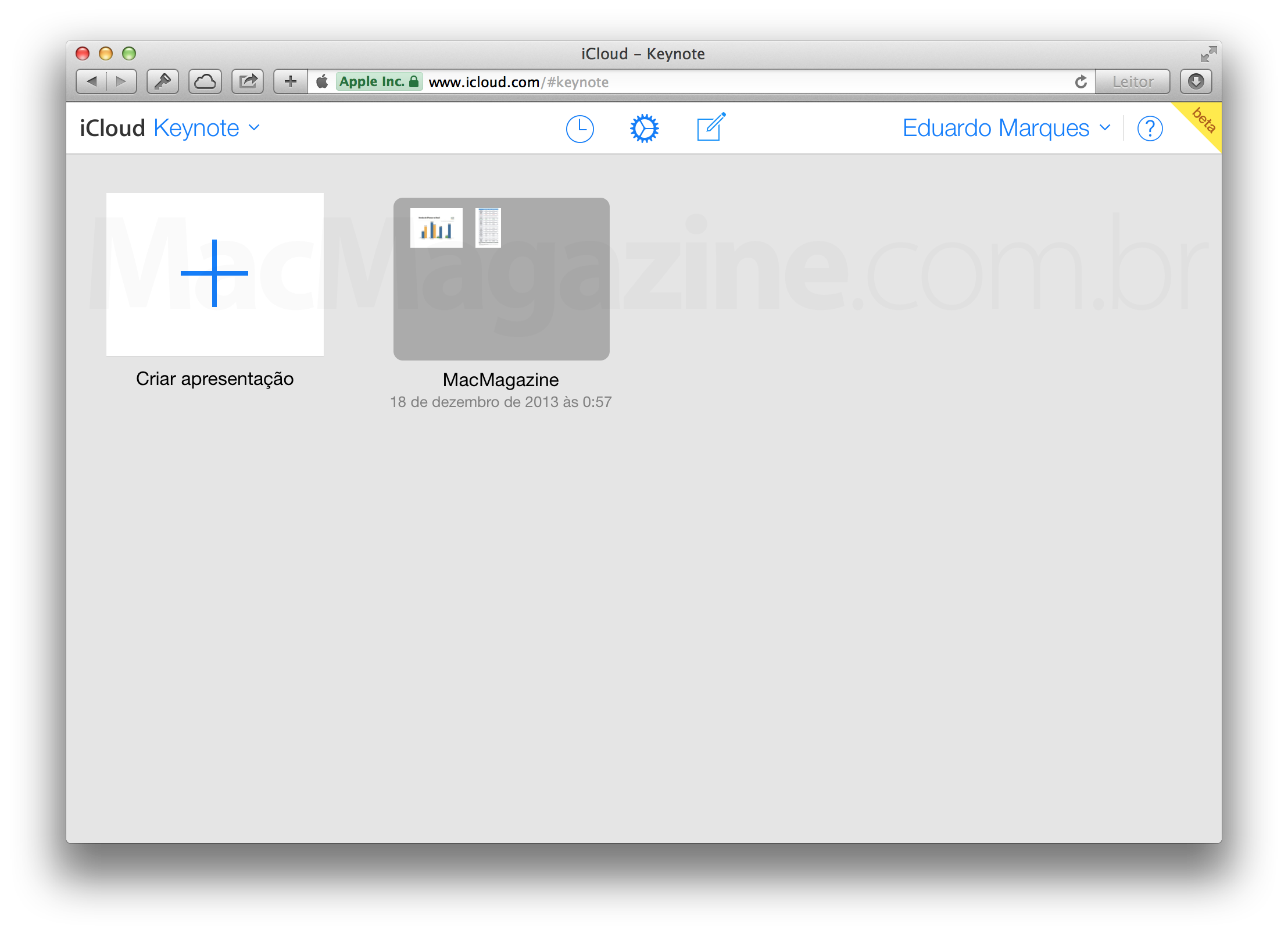 Keynote para iCloud com novo visual