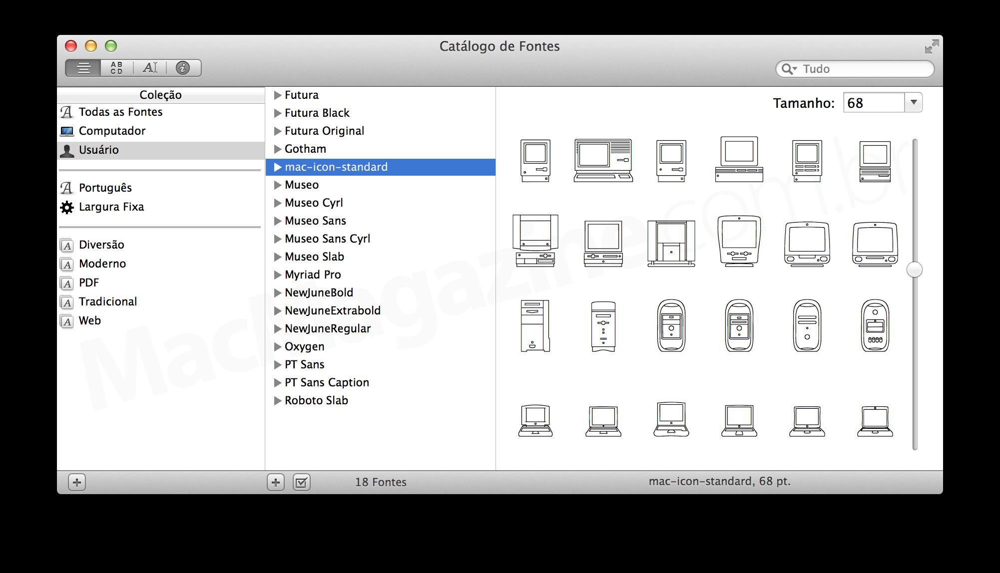Catálogo de Fontes (mac-icon-standard)